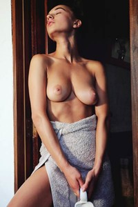 Model Gloria Sol in Milk Shower