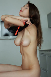 Model Mila Azul in Coffee Boost